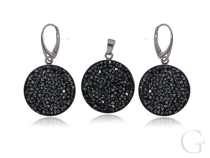 Swarovski srebrny komplet biżuterii kolczyki okrągłe wisiorek