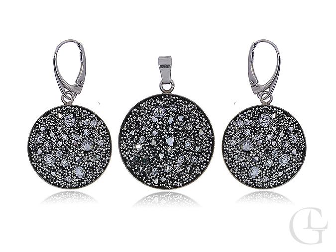 Srebrny komplet biżuterii Swarovskiego okrągły wisiorek kryształy