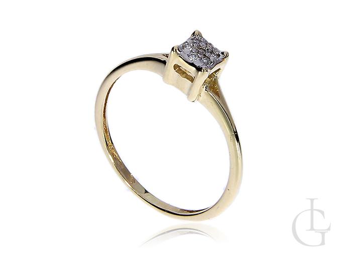 Złoty pierścionek z diamentami złoto żółte 14K 585