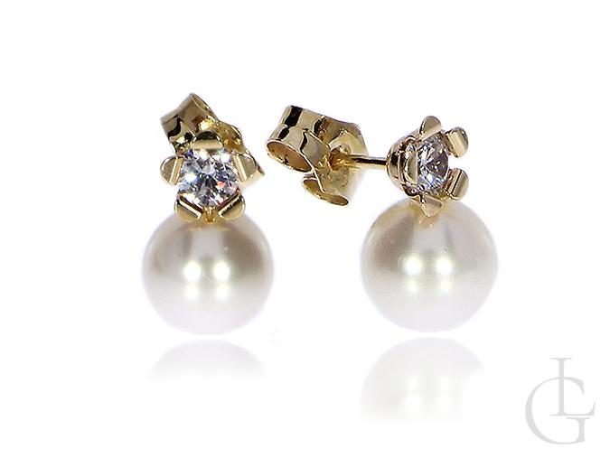 Złote kolczyki z perłami i cyrkoniami zapięcie sztyft złoto 585 14K