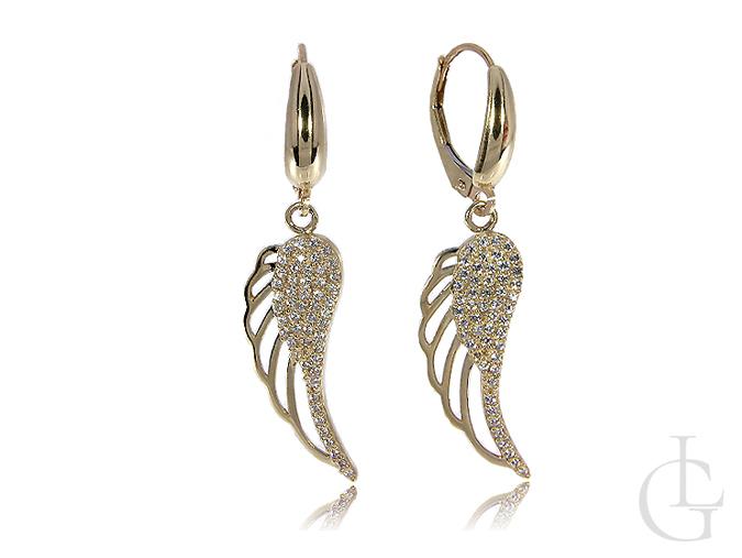 Kolczyki złote skrzydła anioła wiszące cyrkonie złoto żółte 14K 585
