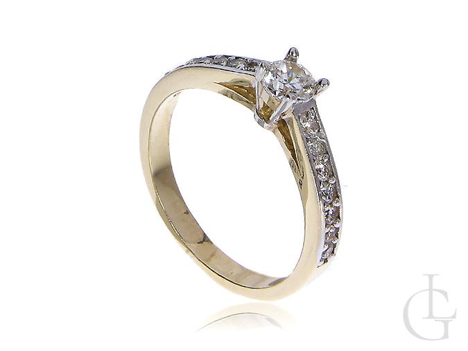 Złoty pierścionek zaręczynowy cyrkonie złoto 14K 0.585