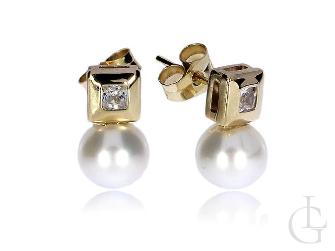 Złote kolczyki perły cyrkonie zapięcie sztyft złoto żółte 14K 585