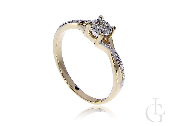 Pierścionek złoty zaręczynowy z brylantami
