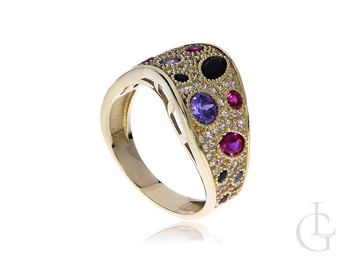 Ekskluzywny złoty pierścionek szeroki z kamieniami