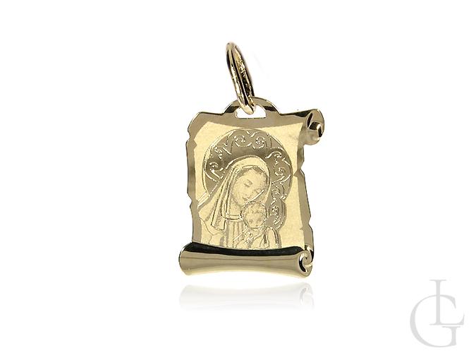 Złoty medalik z Matką Boską na I Komunię Świętą, Chrzest