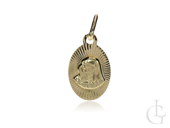 Medalik złoty z Matką Bożą