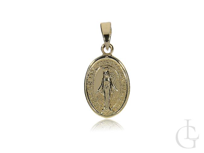 Złoty medalik z Matką Boską Niepokalanego Poczęcia I Komunia Święta Chrzciny, prezent