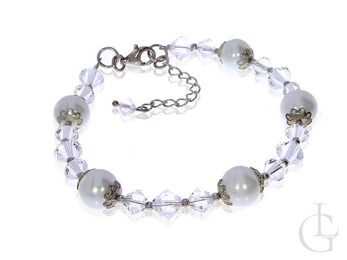 Bransoletka z kryształami i perłami Swarovskiego