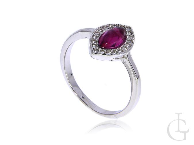 fd572f87749094 Pierścionek srebrny rubin cyrkonie srebro rodowane 0.925 - LipGold