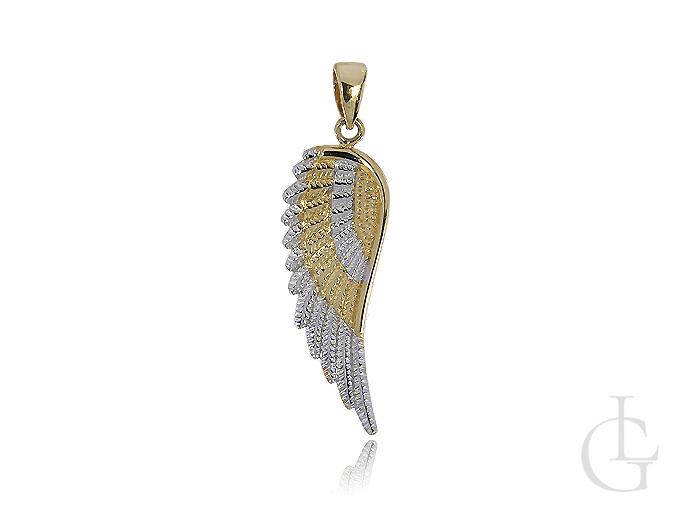 Złote skrzydło zawieszka złota na łańcuszek