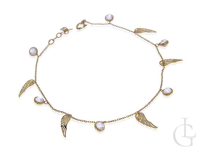 Celebrytka złota bransoletka skrzydełka cyrkonie choker na rękę
