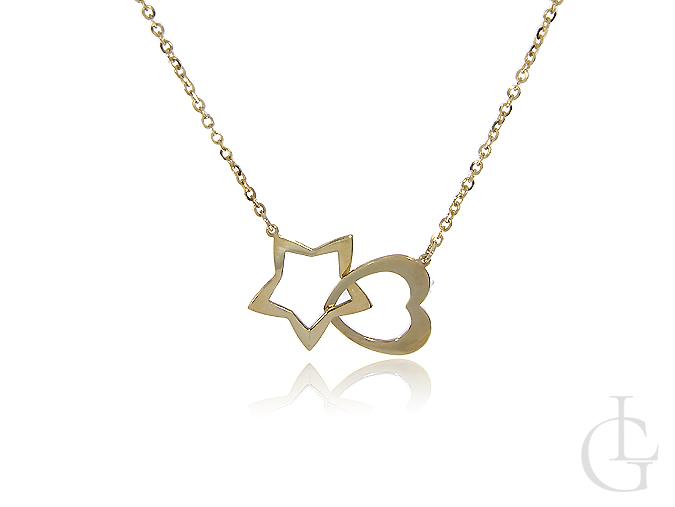 Naszyjnik złoty z serduszkiem i gwiazdką