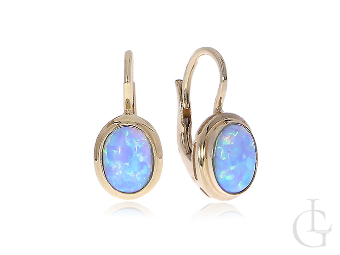 Złote kolczyki z opalem naturalnym błękitnym