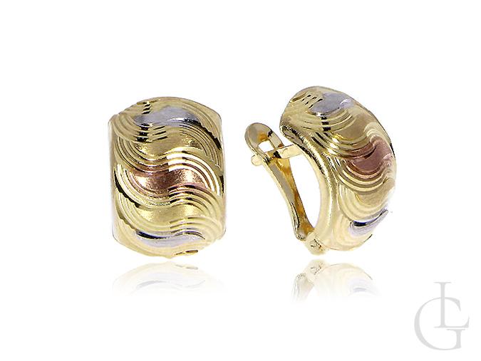 Złote kolczyki na angielskie zapięcie żółte złoto, białe złoto, różowe złoto pr.0,585