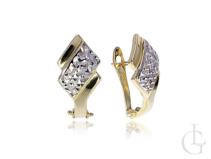 Eleganckie kolczyki złote na angielskie zapięcie białe żółte złoto