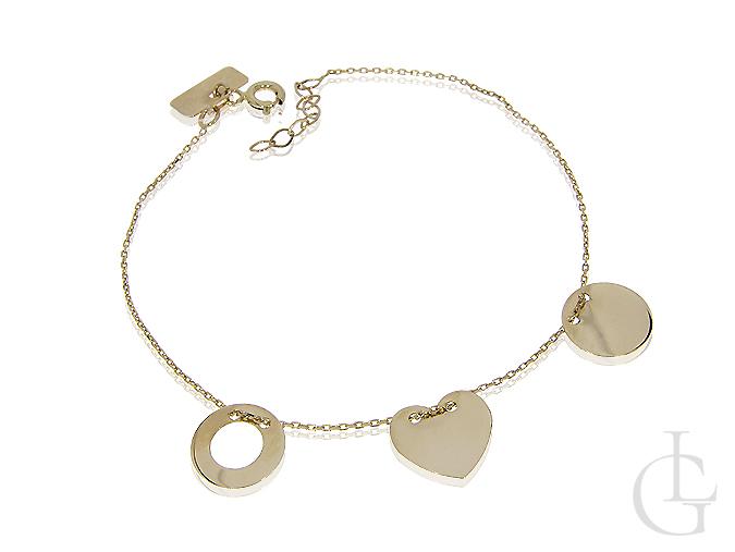 Celebrytka złota bransoleta serce i kółeczka