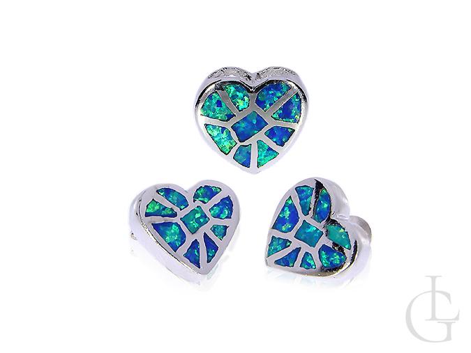 Komplet biżuterii srebrnej serduszka z opalem naturalnym