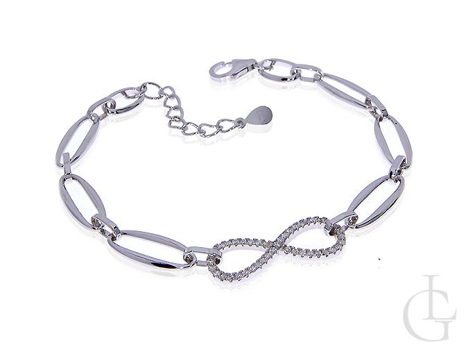 Bransoletka srebrna ze znakiem nieskończoności i cyrkoniami