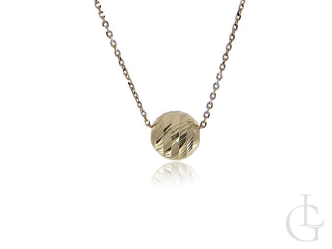 Złoty naszyjnik celebrytka z diamentowaną kulką