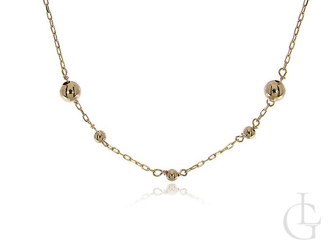 Elegancki złoty naszyjnik pr.0,585 z kuleczkami
