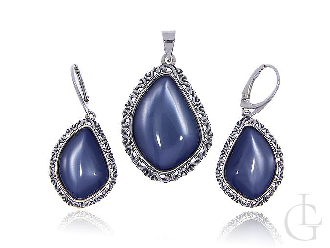 Srebrny komplet biżuterii z uleksitem kolczyki wiszące i wisiorek srebrny