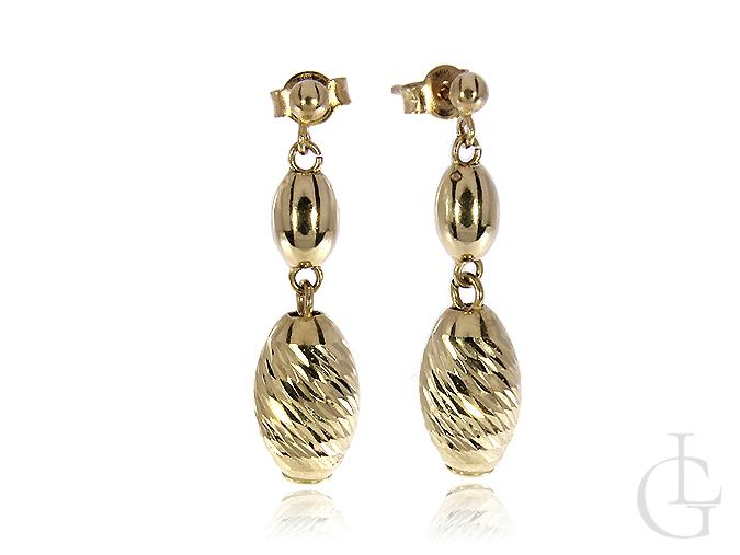 Kolczyki złote pr.0,585 diamentowane elementy