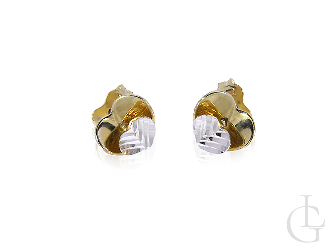 Złote kolczyki pr.0,585 serduszka z białego i żółtego złota