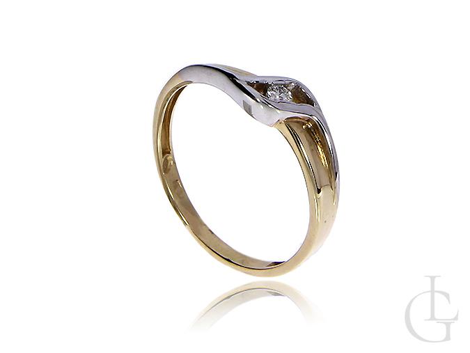 Złoty pierścionek ze złota żółtego i białego z diamentem