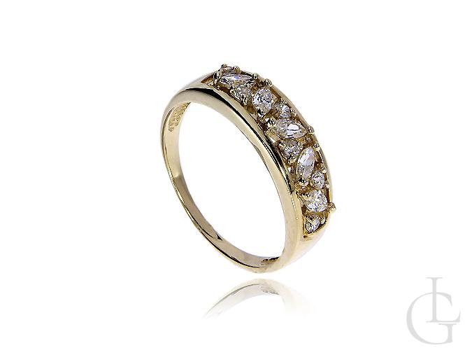 Złoty pierścionek ze złota pr.0,585 z cyrkoniami