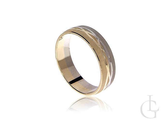 Obrączka ze złota białego i żółtego pr.0,585 diamentowana