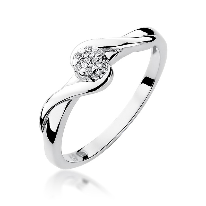 Klasyczny pierścionek z brylantami na zaręczyny z białego złota
