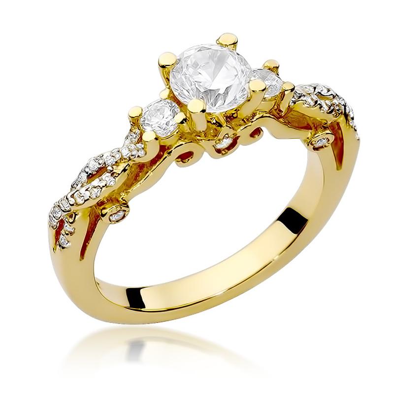 Piękny pierścionek ze złota pr.0,585 z brylantami