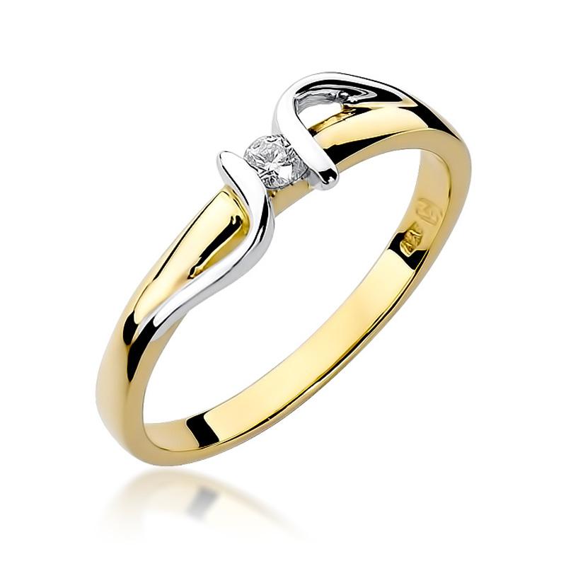 Pierścionek ze złota 14 ct z brylantem