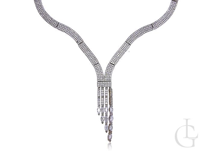 Naszyjnik kolia z cyrkoniami srebro rodowane pr.0,925