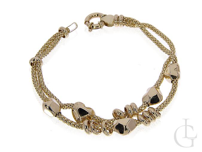 Podwójna bransoleta z klasycznego złota pr.0,585 z serduszkami