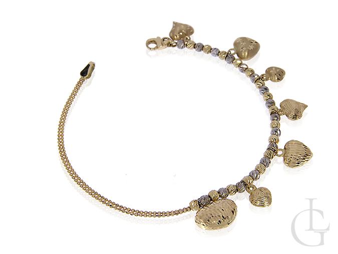 Bransoletka ze złota pr.0,585 z wiszącymi serduszkami charmsy