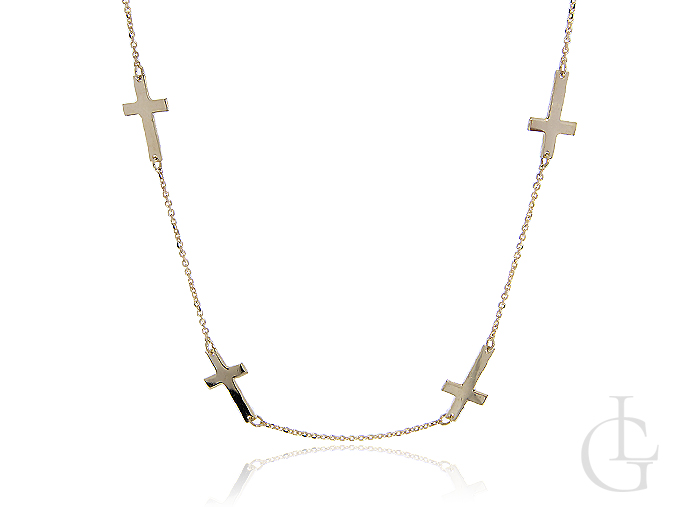 Naszyjnik celebrytka ze złota pr.0,585 z krzyżykami