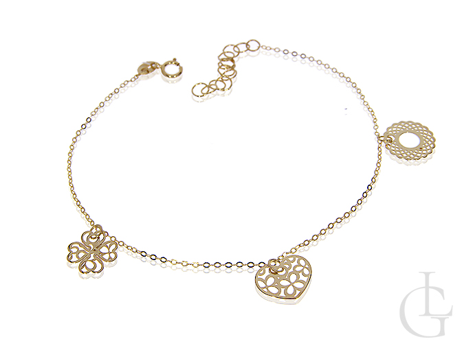 Ażurowa bransoletka łańcuszkowa celebrytka złoto pr.0,585 choker przywieszki