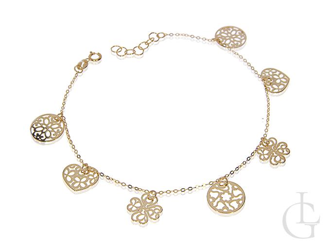 Bransoletka łańcuszkowa ankier z ażurowymi przywieszkami choker celebrytka ze złota pr.0,585