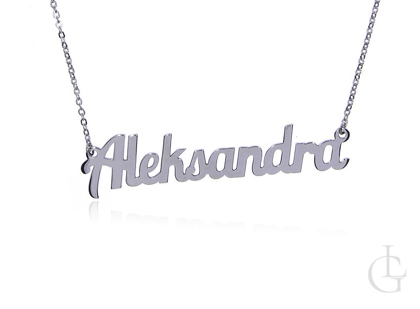 Aleksandra naszyjnik celebrytka łańcuszek z imieniem srebro rodowane pr.0,925