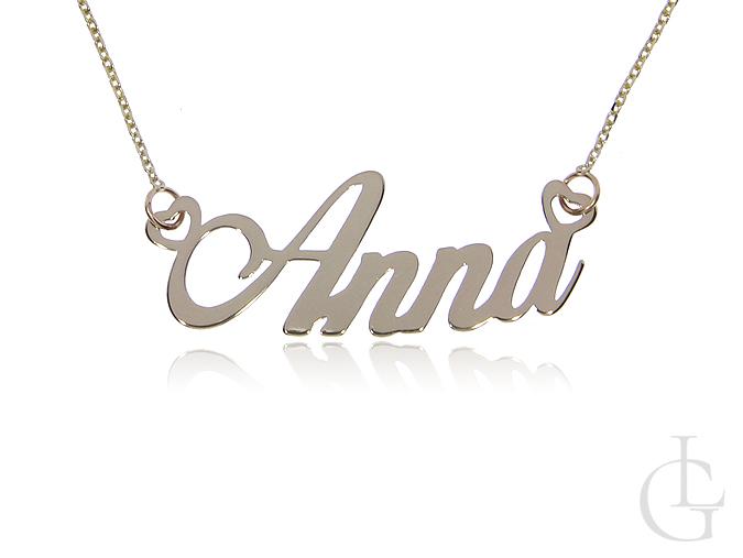 Anna złoty łańcuszek pr.0,585 naszyjnik z napisem celebrytka z imieniem
