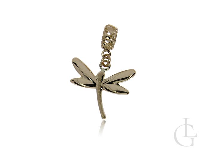 Złota przywieszka charms beads do bransoletki łańcuszka ważka złoto pr.0,585