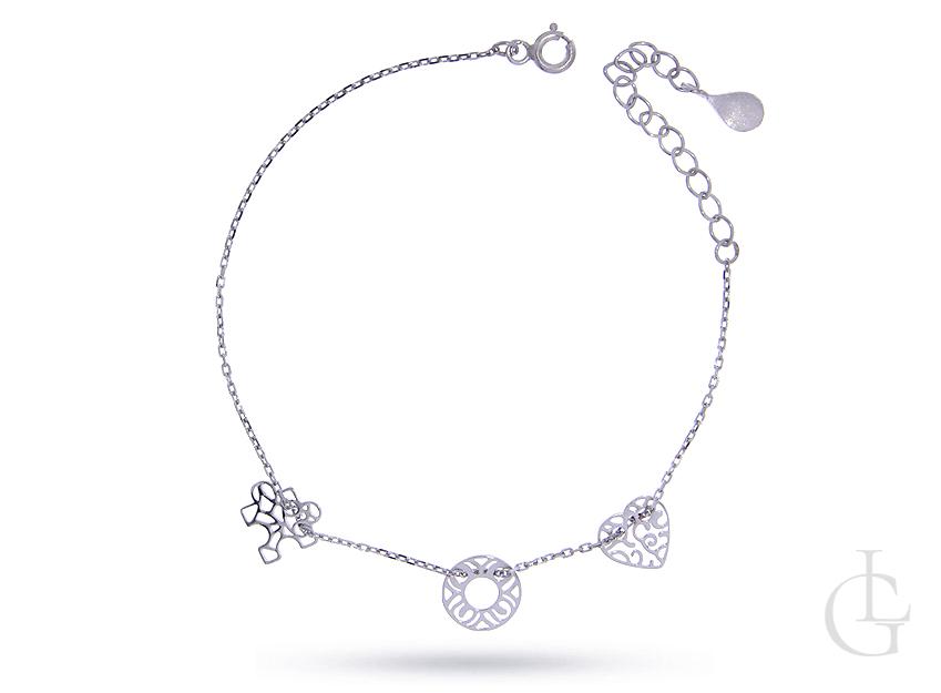 Bransoletka celebrytka łańcuszkowa ze srebra rodowanego pr.0,925 z serduszkiem kółeczkiem i puzzlem