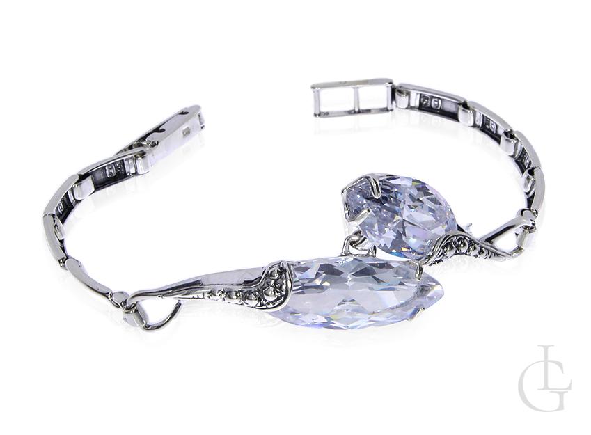 Piękna bransoleta ze srebra pr.0,925 z cyrkoniami