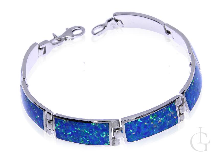 Piękna bransoleta ze srebra rodowanego pr.0,925 z opalem błękitnym
