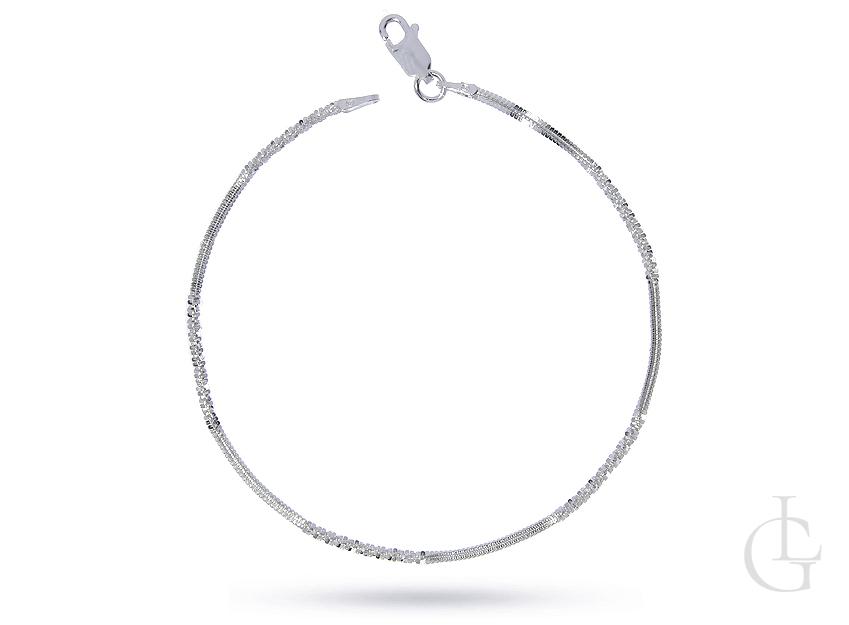 Bransoletka łańcuszkowa ze srebra pr.0,925 diamentowana kostka