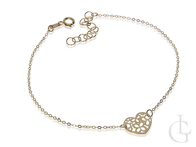 Bransoletka łańcuszkowa celebrytka złoto pr.0,585 z ażurowym serduszkiem