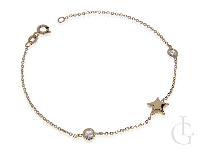 Złota bransoletka łańcuszkowa celebrytka z cyrkoniami i gwiazdką