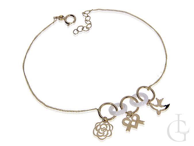 Złota bransoletka łańcuszkowa celebrytka pr.0,585 choker z przywieszkami serce kwiatek jaskółka